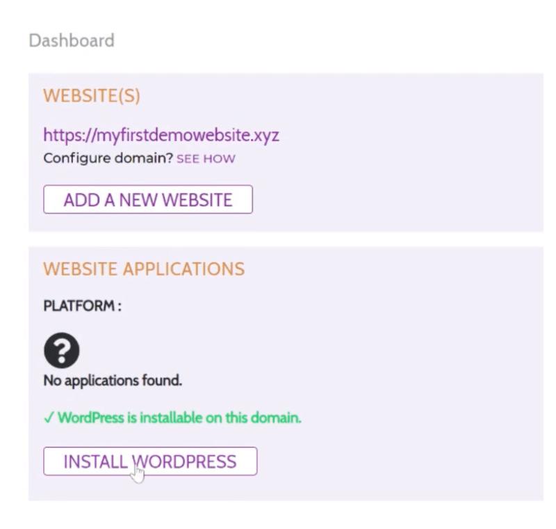 Install WordPress in one click