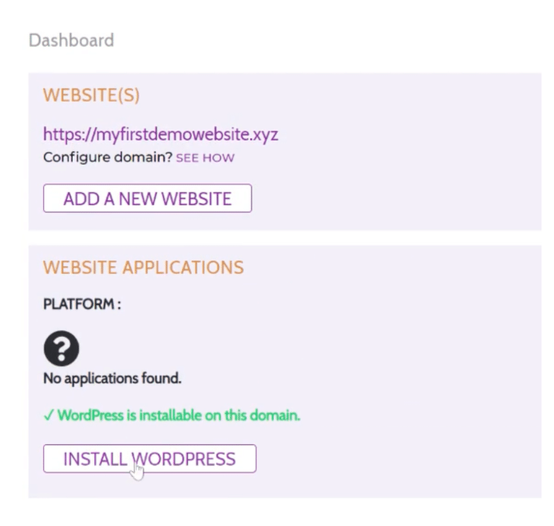 Install WordPress in one click from your Hustly Dashboard