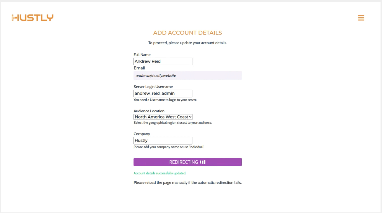 Add your account details to create your hosting account.