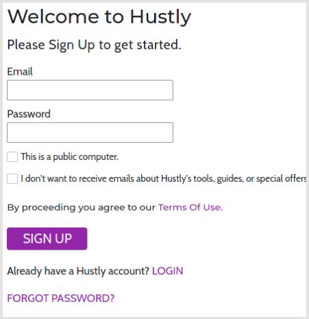 Sign Up and create your Hustly account.