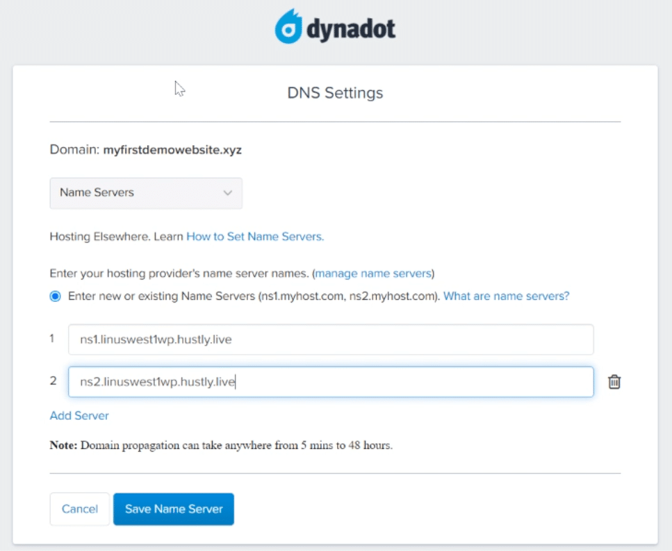 Add your Name Server addresses to Dynadot.