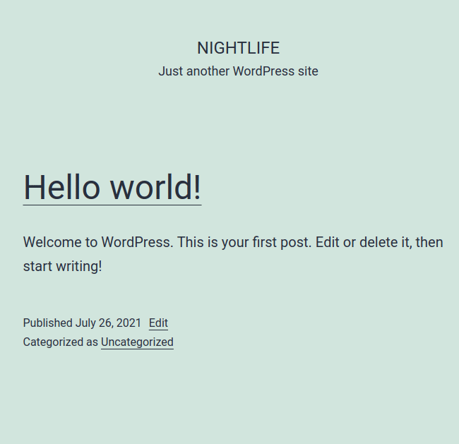 The default WordPress home page on a fresh WordPress installation.
