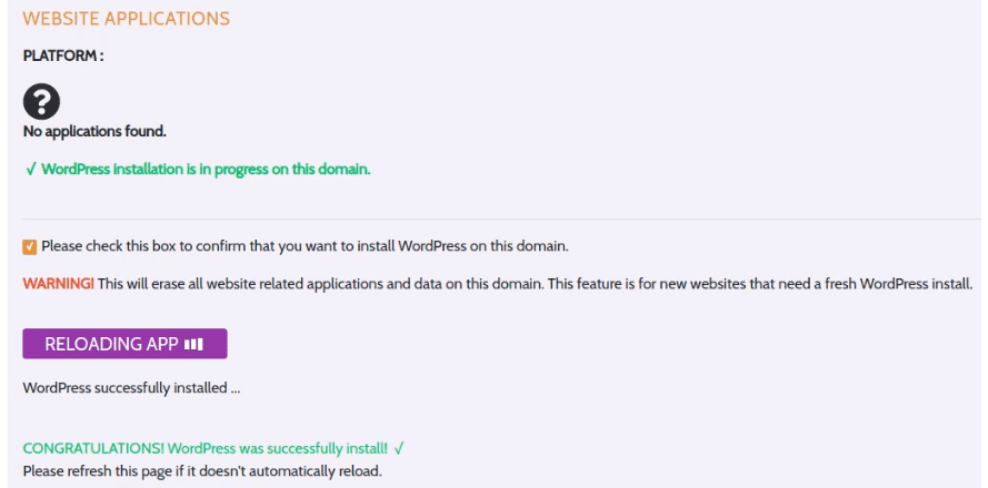 The dashboard will automatically reload once WordPress is successfully installed.