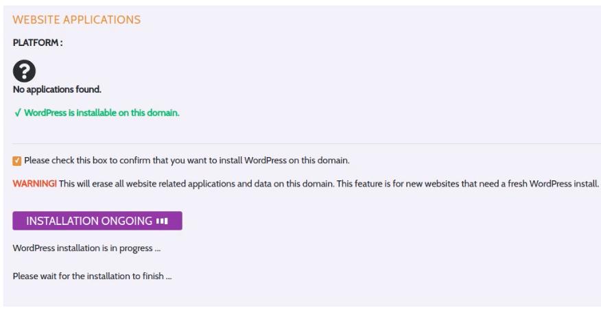 Wait for WordPress installation to finish.