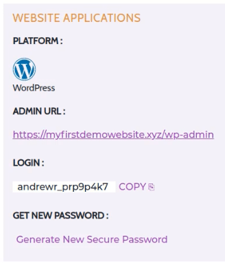The Website Applications section in your Hustly dashboard will now indicate that WordPress has been installed.
